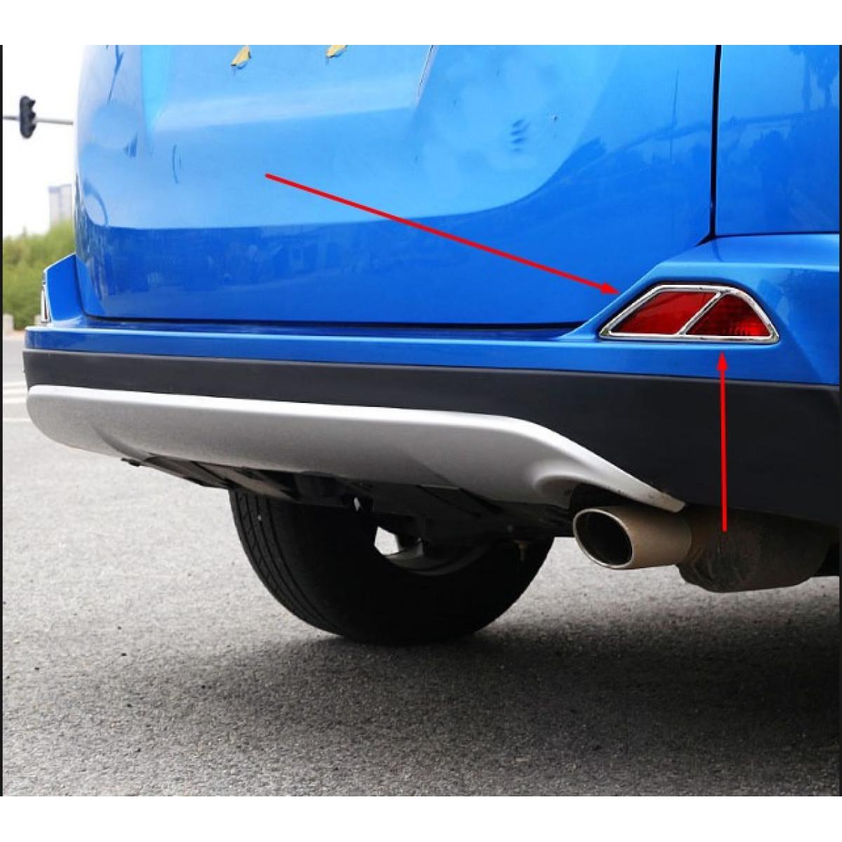 Хром накладки на задние противотуманки Toyota RAV4 2017